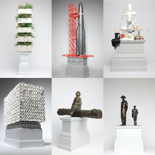 The Trafalgar Square Fourth Plinth shortlist proposals (clockwise from top left): On Hunger and Farming in the Skies of the Past 1957–1966 by Ibrahim Mahama; GO NO GO by Goshka Macuga; The Jewellery Tree by Nicole Eisenman; Antelope by Samson Kambalu; Bumpman for Trafalgar Square by Paloma Varga Weisz; 850 Improntas (850 Imprints) by Teresa Margolles. All photos by James O'Jenkins, courtesy of the National Gallery, London.