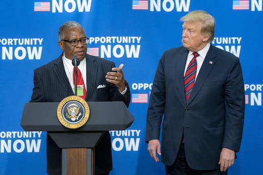 "Mayor George Flaggs of Vicksburg, Mississippi and President Donald Trump speaking at an Opportunity Zones conference in 2019. Image courtesy of Official White House  by<https://www.flickr.com/photos/whitehouse/46716433955/""> Flickr account</a>"