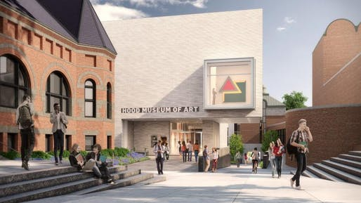 Rendering of the north facade, facing the Dartmouth Green, of the expanded Hood Museum of Art at Dartmouth College. Rendering by MARCH.