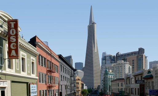 View of the William Pereira-designed Transamerica Tower in San Francisco. Image courtesy of Bernard Spragg, Picrly.