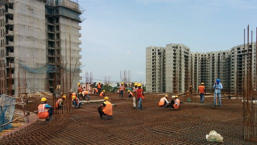 Construction in India using concrete. Image: University of Bath.