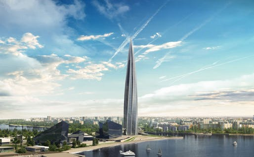 Lakhta Center rendering by RMJM, located in St. Petersburg, RU. Image: Lakhta Center.