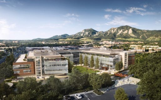 Architect David Tryba's rendering of the Google Boulder campus (Courtesy Tryba Architects)
