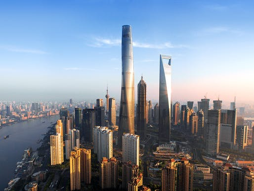 The recently completed and at 632 m/2,073 ft now the world's second-tallest building: Shanghai Tower. (Image: Gensler)
