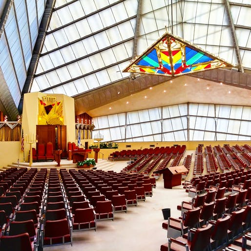 "Interior of the FLW-designed Beth Sholom Synagogue. Photo: <a href=""https://www.flickr.com/photos/dtjoyce/25514567327/in/photostream/"">Dustin Tyler Joyce</a>."