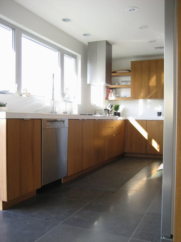 Interior architecture on kitchen window and door layout