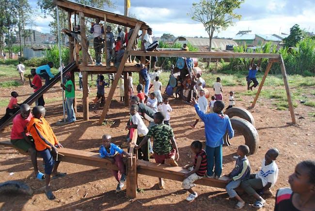 Kibera Public Space Projects: Architects: Chelina Odbert (USA), Jennifer Toy (USA), Arthur Adeya (Kenya), Luke Clark Tyler (USA), Anthony Opil (Kenya), Julius Muiru (Kenya), Ellen Schneider (USA), and Kotch Voraakhom (Thailand), Kounkuey Design Initiative; environmental engineers: Byron Stigge, Joe Mulligan, and Greg Tuzzolo, Buro Happold; volunteer collaborators: Yvonne Hung, Jean Yang. Clients/community partners: Kiki Weavers, New Nairobi Dam Community Group, Riverside Usafi Group, Ushirika...