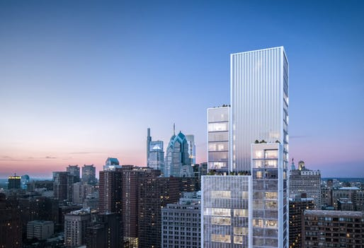 Kohn Pedersen Fox Associates's 47-story residential tower in Philadelphia. Courtesy of KPF