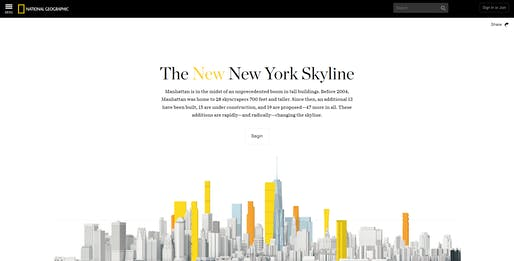 "Screenshot of ""The New New York Skyline"" infographic by National Geographic, via nationalgeographic.com."