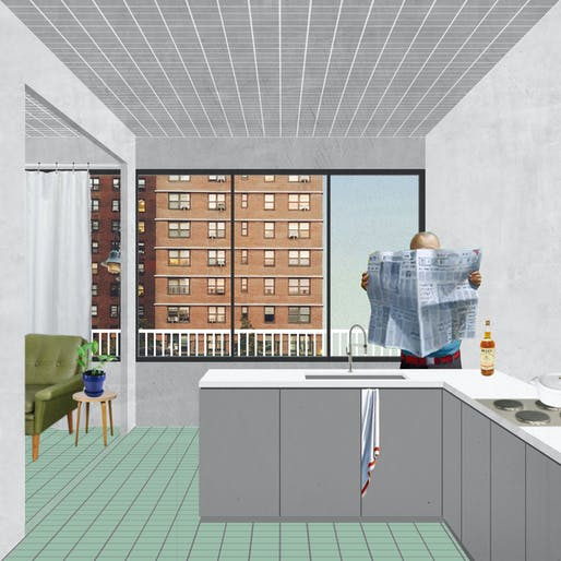 View of proposed additions to NYCHA housing. Image courtesy of Peterson Rich Office.