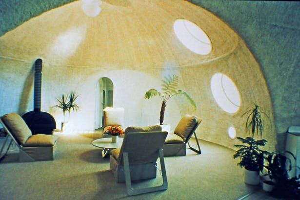 interior view of the finished dome cluster house, main living area.