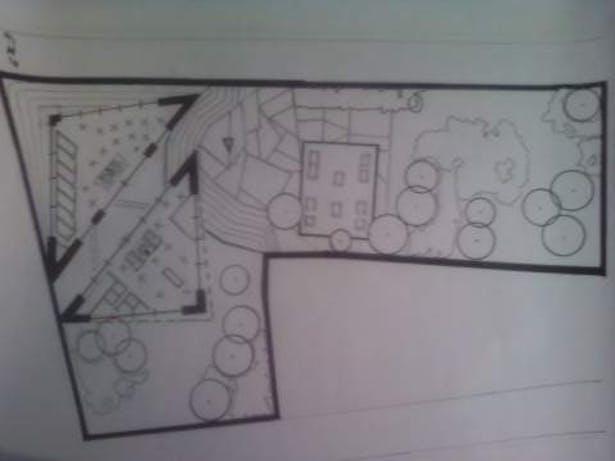 studio-building/ plot design downtown hartford, ct, groiund fl plan- hand drafted