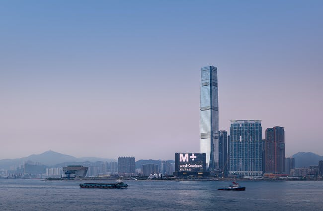The M+ building, viewed from Victoria Harbour Photo: Virgile Simon Bertrand © Virgile Simon Bertrand Courtesy of Herzog & de Meuron