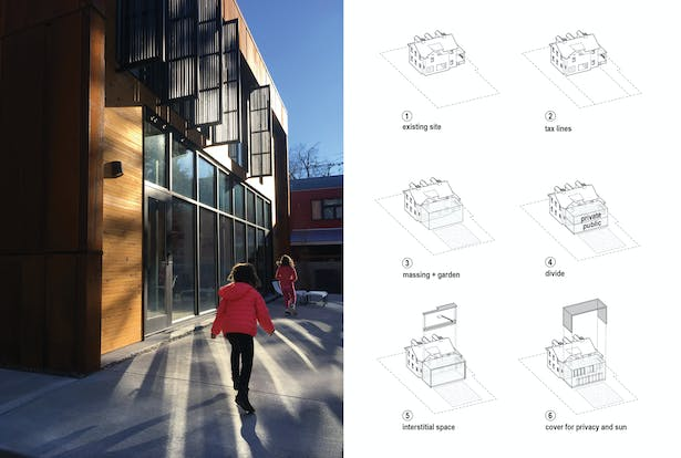 Left: Louvered 'fins' keep the sun's glare out of the new master bedroom suite on the second floor. Right: Diagram demonstrating the innovative sectional solution for adding new construction to an old, traditional house.