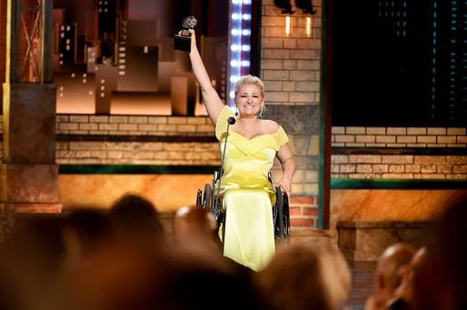 Broadway actor Ali Stroker accepting the 2019 Tony Award for Best Featured Actress in a Musical at Radio City Music Hall on June 9. Photo: Getty / Theo Wargo.