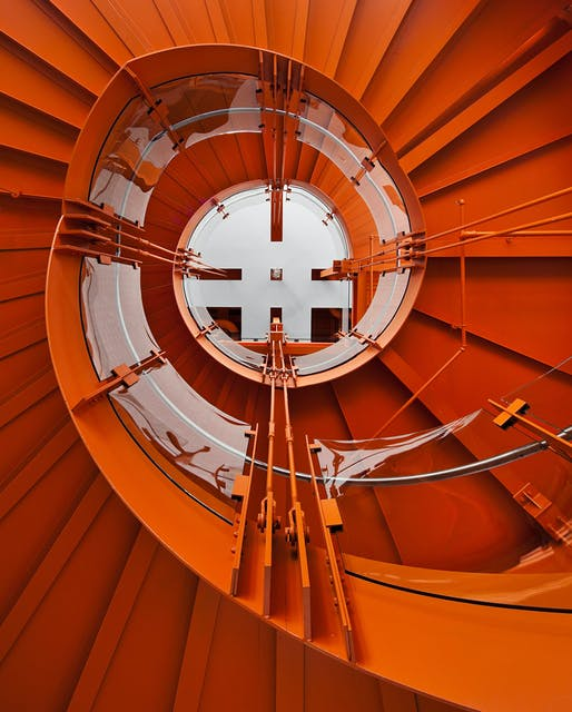 Staircase inside the ArtsQuest Center at SteelStacks in Bethlehem, PA by Spillman Farmer Architects (Photo: Paul Warchol Photography)
