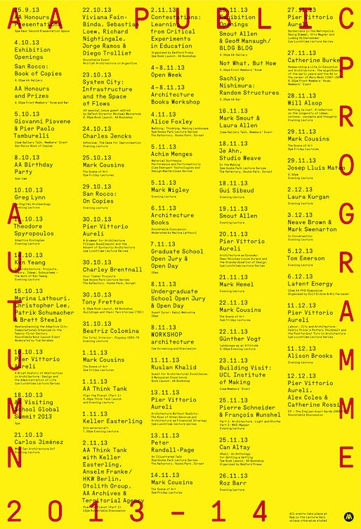 Poster for the Autumn '13 Public Program at the AA School of Architecture. Image courtesy of AA School of Architecture.