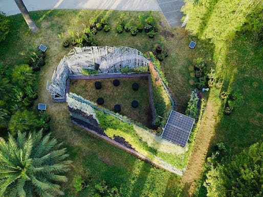 An aerial view of the Living Chapel in the Rome Botanical Garden. Image: Consuelo Fabriani