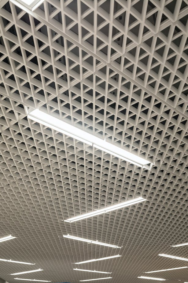 Detail of custom glass fiber reinforced gypsum (GFRG) ceilings. © James Ewing
