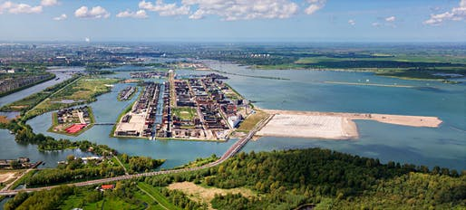 Aerial view of Amsterdam's IJburg residential islands project, with future land reclamation currently under way. (Image via citylab.com)
