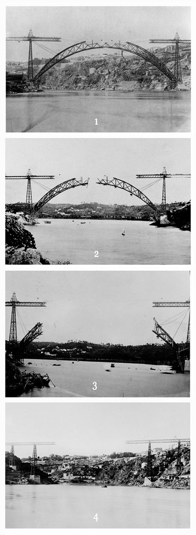 Scheme of the disassembly of the bridge based on photographs of the bridge's construction. Image attributed to Emilio Biel. Image courtesy of Ana Laureano Alves.