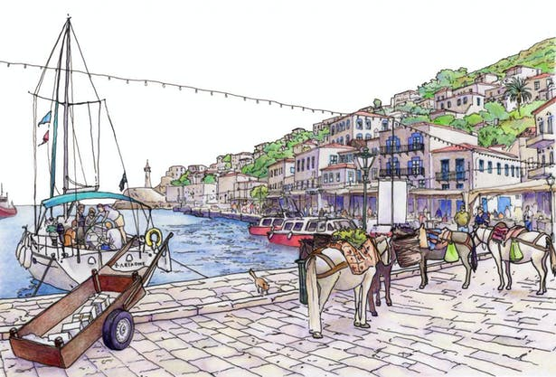 Hand Rendering - Greece (Watercolor, Mixed media)