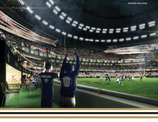 Renderings for the Trahan Architects-led renovations to the Mercedes Benz Superdome in New Orleans have been unveiled.Image courtesy of Trahan Architects.