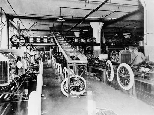 Ford's Model T assembly at the Highland Park Plant by Albert Kahn, located near downtown Detroit. Image: Ford Media Center.