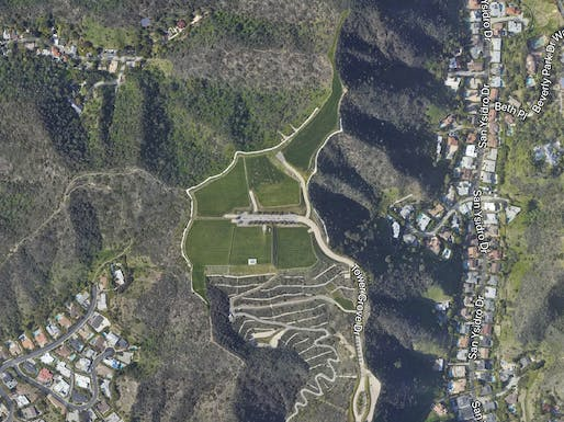 "Aerial view of ""The Mountain of Beverly Hills."" Image courtesy of Google Earth."