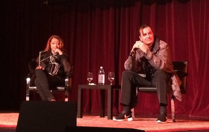 Zaha Hadid and Patrik Schumacher field questions at USC. Credit: Anthony Morey / Archinect