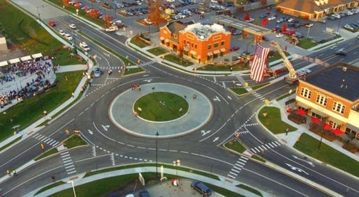 The photo shows Carmel, Indiana's 100th roundabout (of now 102 total). Image via the city's Facebook page.