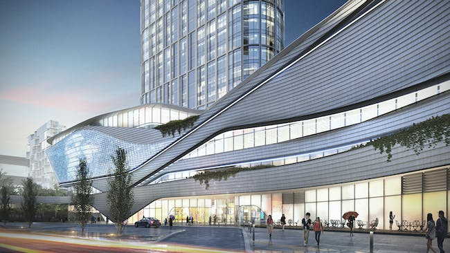 Rendering of Zhongxun Times by 10 Design in Chongqing. Image courtesy of 10 Design