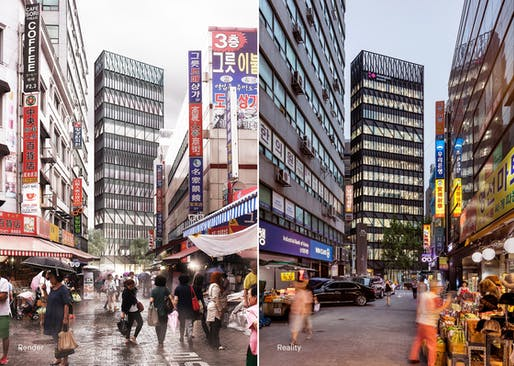 "Render vs. Reality: <a href=""https://archinect.com/mecanoo/project/namdaemun-tower"">Namdaemun Tower</a> in Seoul, South Korea. Image: Mecanoo."