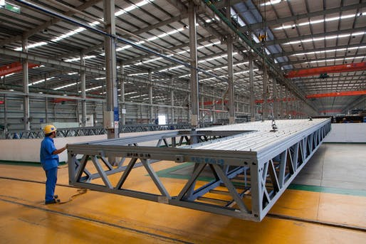 Broad Group, the manufacturer behind the project, plans to use factory-built modules of steel and concrete. Photo: Timothy O'Rourke for The New York Times
