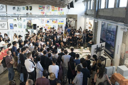Students presenting their work at SCI-Arc's 2018 theses reviews