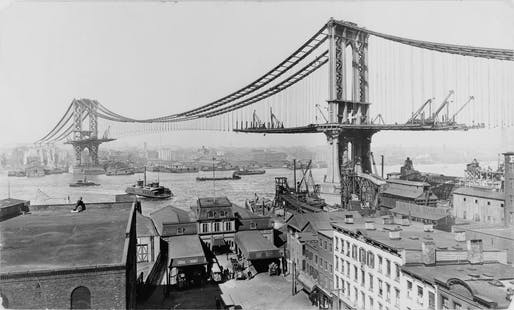 View of the Manhattan Bridge under construction in 1909. Image courtesy of Wikimedia user Irving Underhill, Library of Congress.