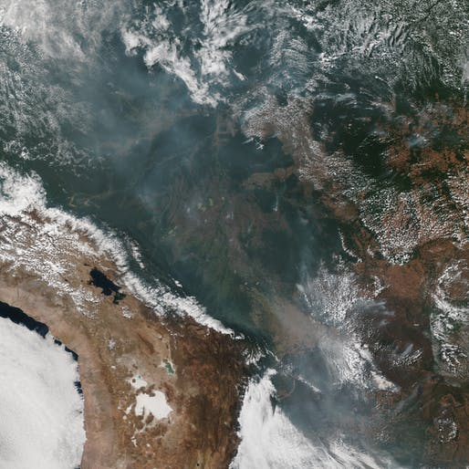 Satellite images of the Amazon from the National Oceanic and Atmospheric Administration show smoke from fires in the air above the rainforest. Image taken August 22, 2019. Image © NOAA
