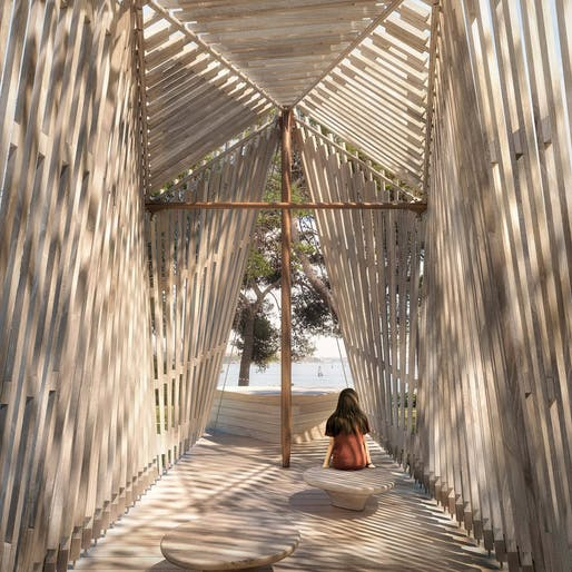 Chapel design by Foster + Partners and Tecno for the Vatican City Pavilion at the 2018 Venice Biennale. Image via Foster + Partners.