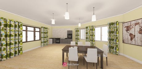 Interior for small residential modern Kitchen I used room planner App for tablet try it out rendering is amazing. For tablet client is satisfied with the presentation.