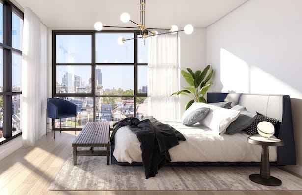 Master bedroom at Eleven Hancock, Credit: Aline Tom at +TOM