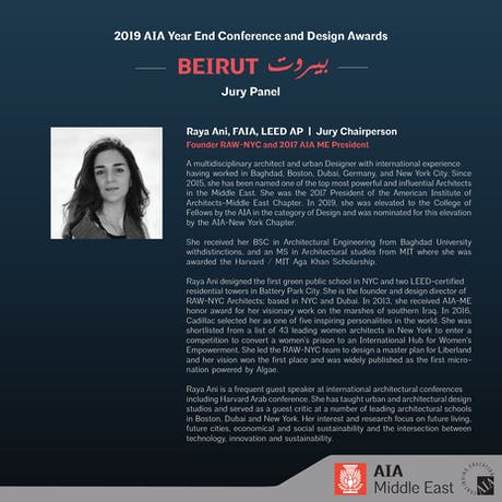Excited to be chairing the Jury for the 2019 AIA Middle East Design Awards.....