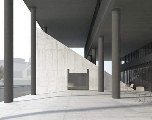 Rendering of the proposed extension to the Harvard Graduate School of Design, by Valerio Olgiati.