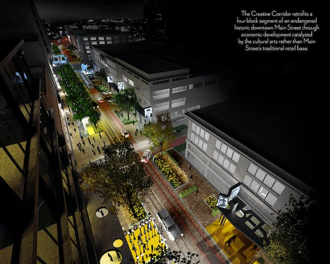 The Creative Corridor: A Main Street Revitalization for Little Rock; Little Rock, AR. Image courtesy of University of Arkansas Community Design Center + Marlon Blackwell Architect