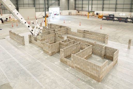 View of a demonstration structure built with FBR's Hadrian X brick-laying robot. Image courtesy of FBR.