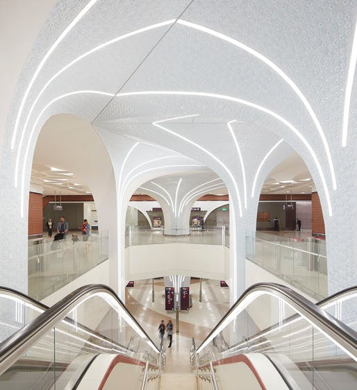 Interior view of a new metro station in Doha designed by UNStudio. All photos courtesy of ©Hufton+Crow.