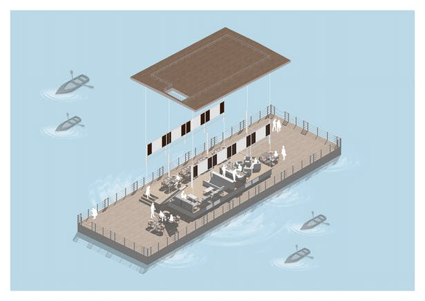 An exploded view of the Floating Restaurant at Goa