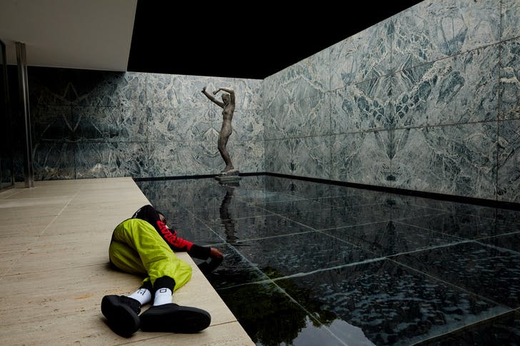 A fashion shoot styled by Virgil Abloh in the Barcelona Pavilion, by Mies van der Rohe. Photo by Fabien Montique.