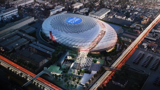 Aerial view of the Los Angeles Clippers' future home, the Intuit Dome. Image courtesy of the Los Angeles Clippers.