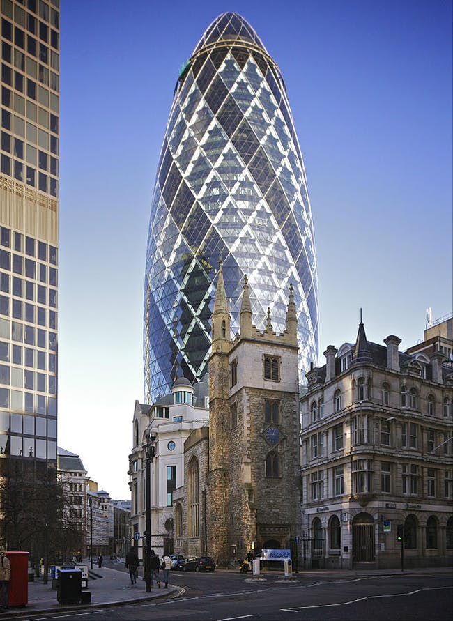 30 St. Mary Ave —aka 'the Gherkin' — was built by Arup. Image via wikimedia.org
