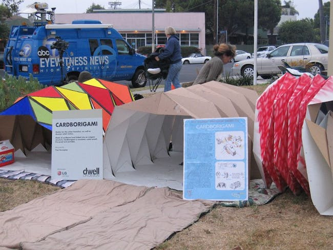 Cardborigami raising awareness at the Venice Sleep Out in Venice, CA